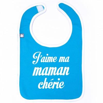 Bavoir à velcro J'aime ma maman chérie bleu  par BB & Co