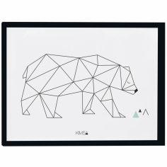 Affiche encadrée géométrique ours Origami play by Claudia Soria (30 x 40 cm)