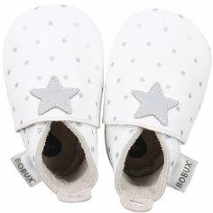 Chaussons en cuir étoile grise (0-3 mois)