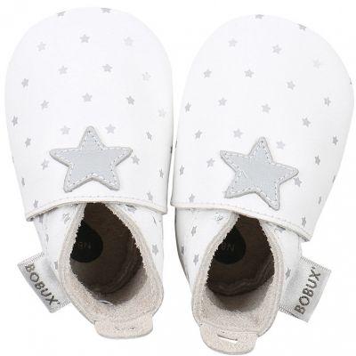 Chaussons en cuir étoile grise (0-3 mois)  par Bobux