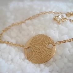 Bracelet empreinte pastille 14.8 mm 2 trous ronds sur chaîne simple 14 cm (or jaune 750°)