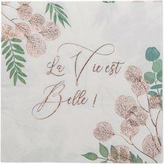 Lot de 16 serviettes en papier La vie est belle Botanique rose gold