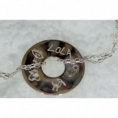 Bracelet empreinte mini pi sur double chaîne 14 cm (argent 925°)