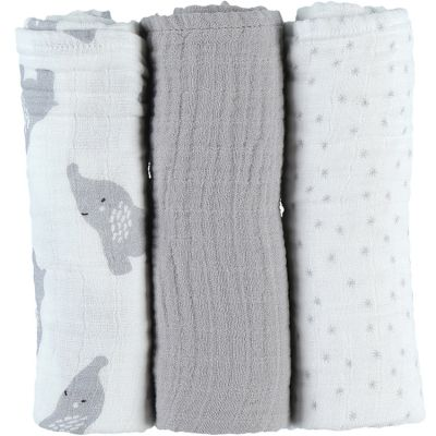 Lot de 3 langes en mousseline de coton Eléphant gris (70 x 70 cm)  par Noukie's
