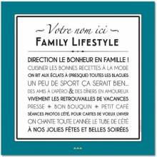 Affiche adhésive personnalisable Family Lifestyle vintage bleu (60 x 60 cm)  par Mes Mots Déco