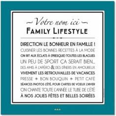 Affiche adhésive personnalisable Family Lifestyle vintage bleu (60 x 60 cm)
