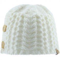Bonnet en tricot avec boutons écru (6-12 mois)