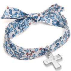 Bracelet enfant Liberty avec croix personnalisable (argent 925°)