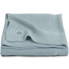 Couverture bébé en coton Basic knit gris vert (100 x 150 cm)