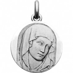Médaille Vierge du XIII (ronde)  (or blanc 750°)