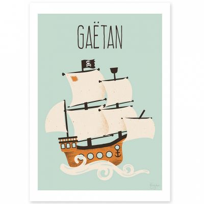 Affiche A3 Le bateau pirate (personnalisable)  par Kanzilue