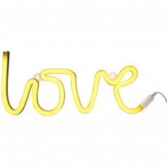 Lampe murale néon Love jaune