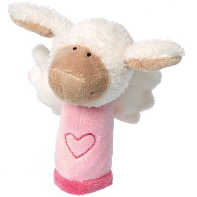 Hochet peluche mouton ange gardien rose (13 cm) Sigikid