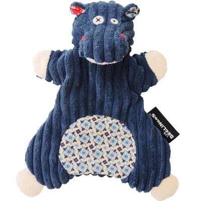 Doudou marionnette Hippipos l'Hippopotame (23 cm) Les Déglingos