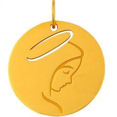 Médaille Vierge de profil (or jaune 18 carats)