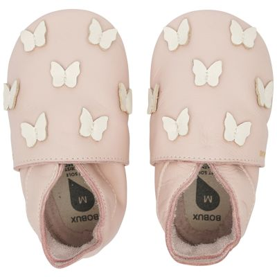 Chaussons bébé en cuir Soft soles Papillon rose  (9-15 mois)  par Bobux