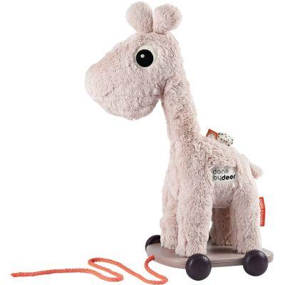 Jouet à tirer avec aimant Raffi girafe rose  par Done by Deer