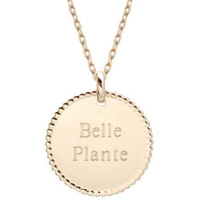 Collier médaille perlée chaîne 45 cm personnalisable (plaqué or) Petits trésors