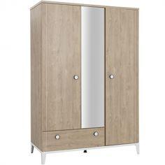 Armoire 3 portes et 1 tiroir en chêne blond Marcel