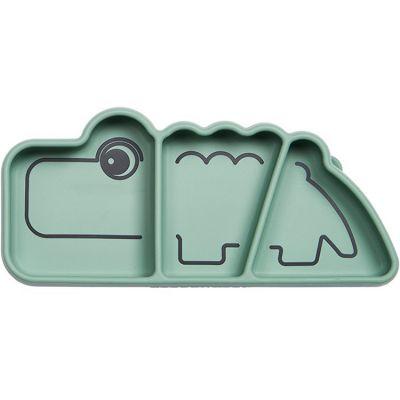 Assiette à compartiments antidérapante silicone Croco vert  par Done by Deer