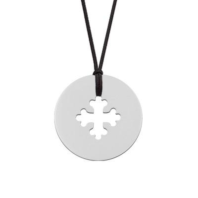 Collier cordon médaille Signes Croix Occitane 16 mm (or blanc 750°) Maison La Couronne