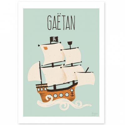Affiche A4 Le bateau pirate (personnalisable)  par Kanzilue