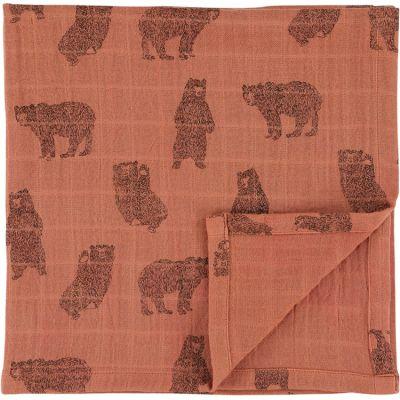 Lot de 2 langes en mousseline de coton bio Brave Bear (110 x 110 cm)  par Trixie