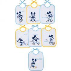 Lot de 7 bavoirs à nouer Mickey jaune et bleu