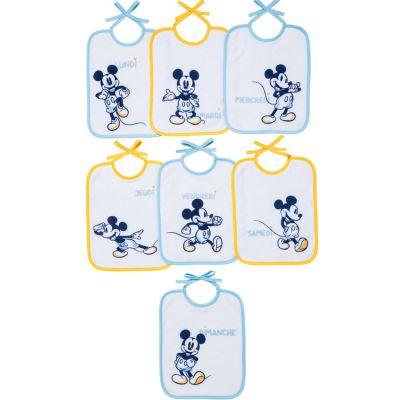 Lot de 7 bavoirs à nouer Mickey jaune et bleu  par Babycalin