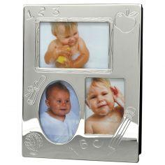Cadre album pêle-mêle 3 photos personnalisable (métal argenté)