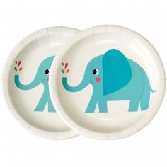 Assiette en carton Elvis l'éléphant (8 pièces)