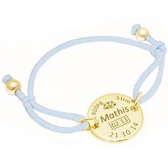 Bracelet cordon bleu clair médaille de naissance (plaqué or jaune)