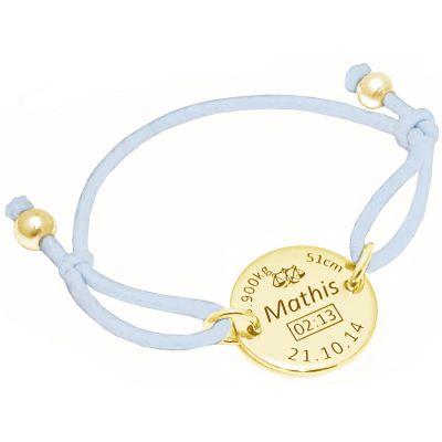 Bracelet cordon bleu clair médaille de naissance (plaqué or jaune)  par Alomi