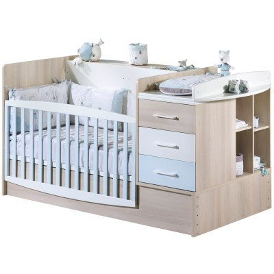 lit bb volutif milk bleu transformable en lit combin. Black Bedroom Furniture Sets. Home Design Ideas