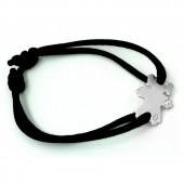 Bracelet cordon petite fille ou petit garçon bracelet diamant 17 mm (or blanc 750°) - Loupidou