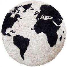 Tapis rond en coton carte du monde (110 cm)