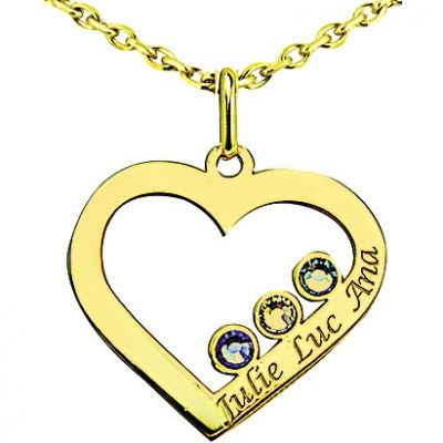 Pendentif coeur avec Swarovski (or jaune 375°)  par Louis de l'Ange