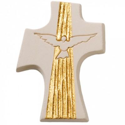 Petite croix Colombe confirmation dorée  par Centro Ave Ceramica