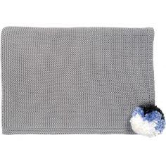 Couverture enfant tricotée Pompom gris (100 x 75 cm)