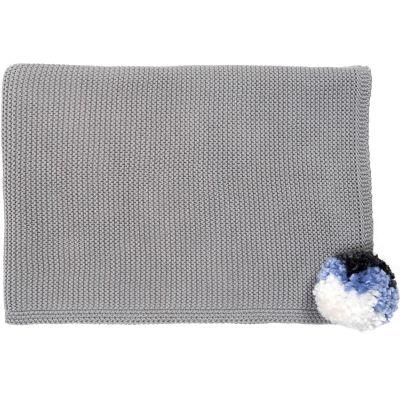 Couverture enfant tricotée Pompom gris (100 x 75 cm)  par Mimi'lou