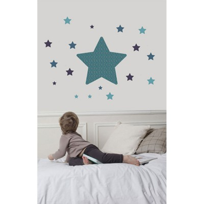 Sticker mural chambre toile bleu art for kids - Stickers etoile chambre bebe ...