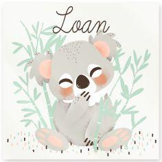 Plaque de porte carrée Les Animignons Le koala (personnalisable)