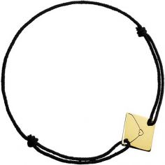 Bracelet cordon Enveloppe coeur (or jaune 750°)