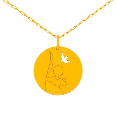 Médaille Vierge ajourée sur chaîne (or jaune 18 carats)  par Maison La Couronne