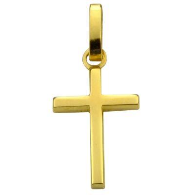 Croix carrée polie 14 x 10 mm (or jaune 750°)  par Premiers Bijoux