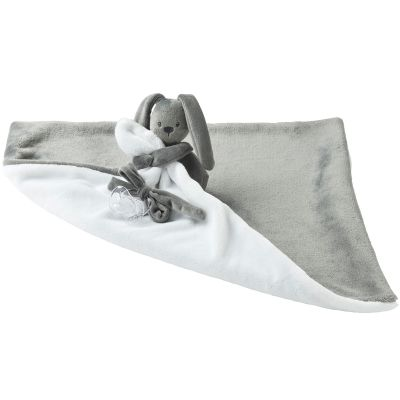 Doudou plat attache sucette Lapidou anthracite et blanc (48 x 48 cm) Nattou