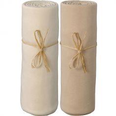Lot de 2 draps housses en coton bio écru et cappuccino (60 x 120 cm)