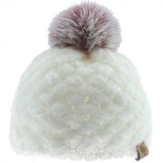 Bonnet en tricot à pompon écru (6-12 mois)