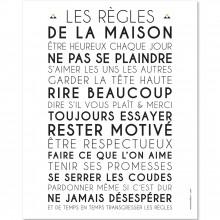 Affiche adhésive Les règles de la maison blanc (45 x 30 cm)  par Mes Mots Déco
