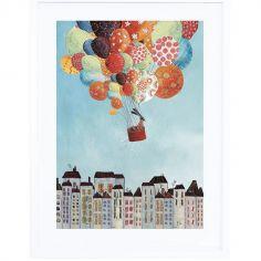 Affiche encadrée voyage en ballon sur la ville (30 x 40 cm)